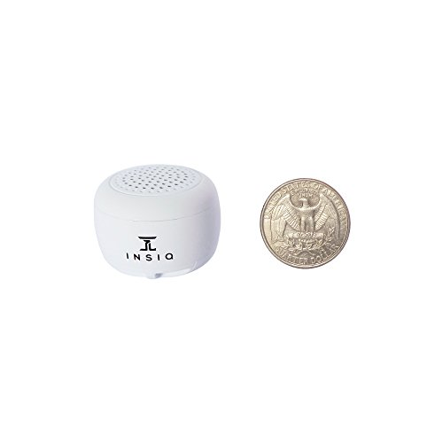 World's Smallest Portable Bluetooth Speaker – Great Audio Quality for its Size – 30+ Feet Range – Photo Selfie Button Answer Phone Calls Compact Compatible with Latest Phone Software (White)