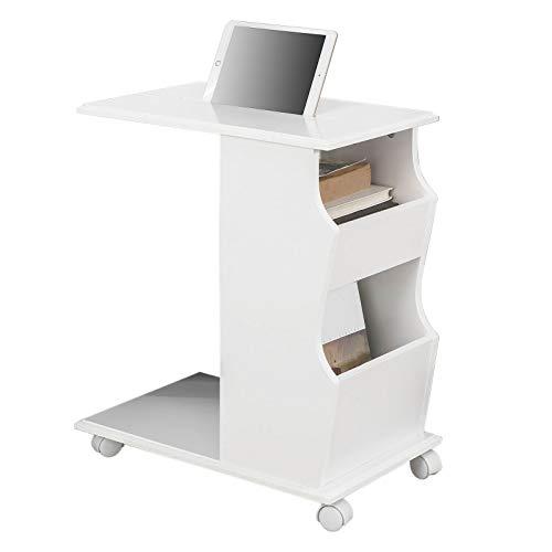 SoBuy® FBT67-W,ES Mesa Auxiliar con 2 Estantes, Consola,Mesita de Noche con Ruedas para iPad, Telefono o Lampara