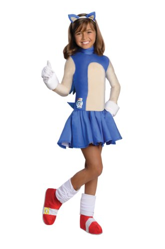 [Sonic The Hedgehog Girls Costume, Small] (Sonic Hedgehog Costume Rental)