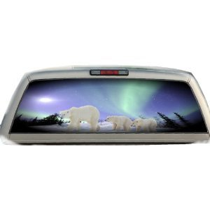 Polar Bears- Northern Lights- 22 Inches-by-65 Inches- Rear Window Graphics
