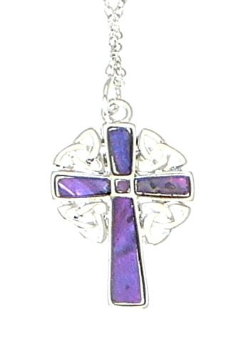 Abalone Cross Pendant (Inlaid Abalone Shell Silver Color Metal Celtic Cross / Crucifix Pendant On Adjustable Silver Color Necklace - Gift Boxed - PURPLE Color)