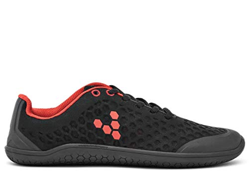 Vivobarefoot Stealth Ii, Mens Breathable Vegan Workout Shoe with Barefoot Sole Black/Red