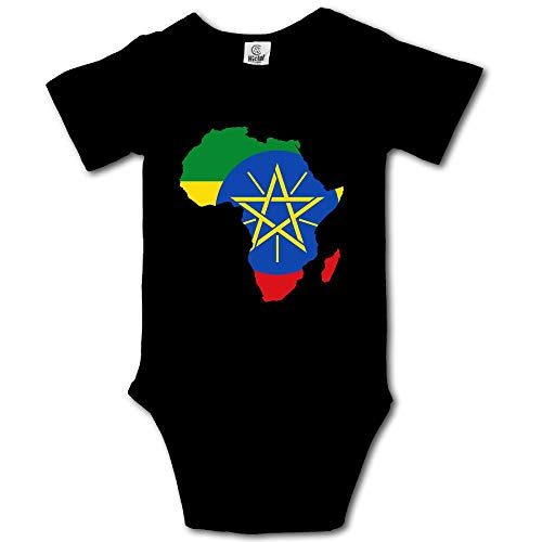 MMJQ6 Ethiopia Flag in Africa Map Infant Baby Boys Girls Crawling Suit Short-Sleeve Romper Bodysuit Onesies Jumpsuit by MMJQ6