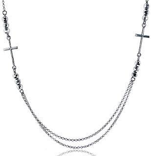 Sterling Silver Rhodium Diamond Cut Cross 18 Rollo Necklace