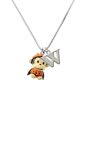 [Resin Monkey in Pumpkin Costume - Capital -W- Initial Necklace] (Letter W Halloween Costumes)