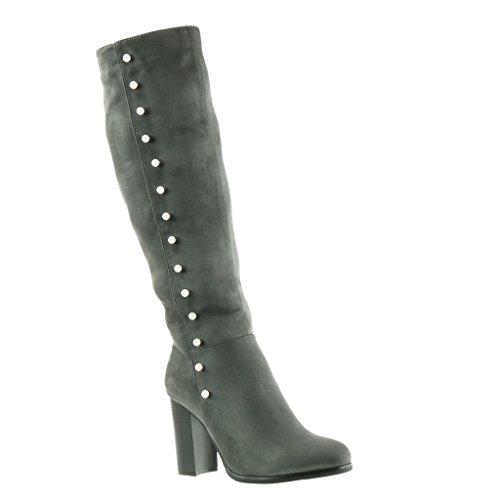 Schuhe Grau heel high CM damen Blockabsatz Perle Stiefel Reitstiefel 9 Kavalier Angkorly TawP5q1Hx5
