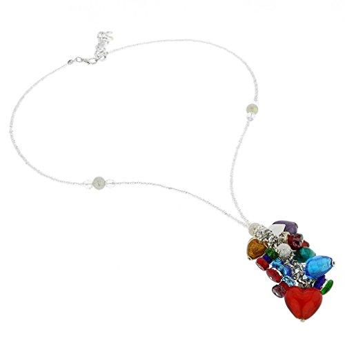 (GlassOfVenice Murano Glass Donatella Heart Charms Necklace - Multicolor )