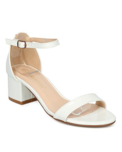 Women Ankle Strap Sandal - Low Block Heel Sandal - Dressy Casual Everyday Formal Office Chunky Heel - Irene by Heart.Thentic Collection - White Patent (Size: (New Ladies White Sandals)