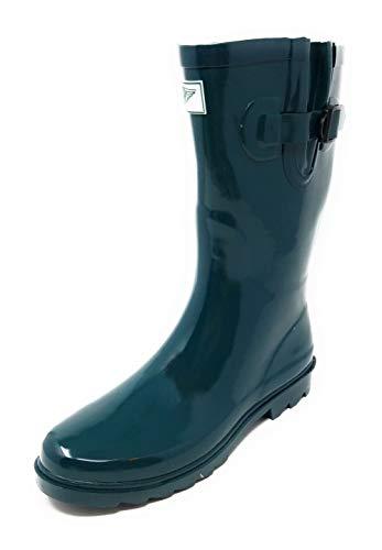 (Women Green Mid-Calf Rubber Rain Boots, 11