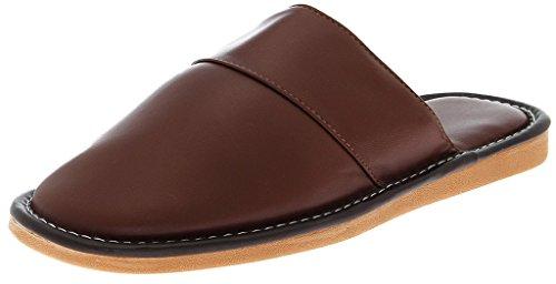 Lukis Herren PU Leder Pantoffel Weich Hausschuhe Komfort Schuhe Braun