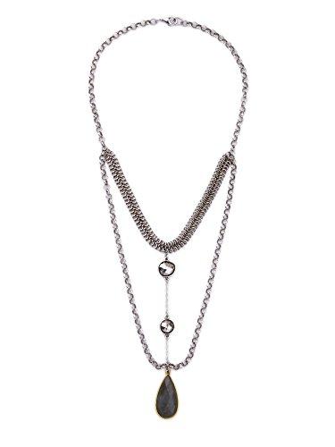 Miss Kiss Alloy Vintage Necklaces & Pendants Multilayer Chains Water Drop Natural Stone Necklace (Vintage Pendant Kiss Glass)