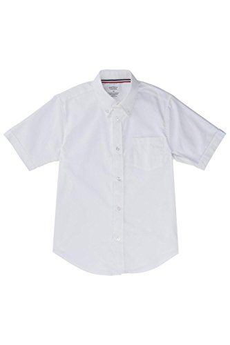 French Toast Little Boys' Short Sleeve Oxford Dress Shirt, White, 7