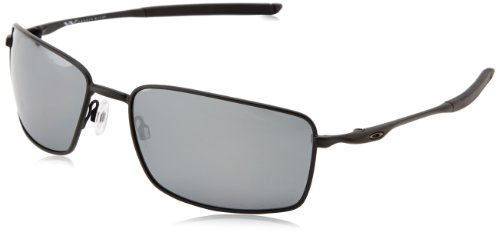 Oakley Men's OO4075 Square Wire Rectangular Metal Sunglasses, Matte Black/Black Iridium Polarized, 60 mm