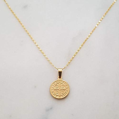 Gold Medallion Necklace, Coin Pendant Necklace, Gold Pendant Necklace, Cross Charm Necklace, Dainty Coin Necklace, BIANKA NECKLACE