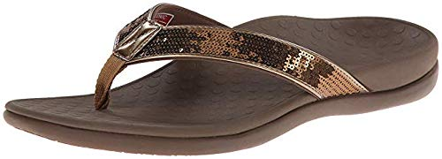 Vionic Women's Tide Sequins Toe Post Sandals - Ladies Flip Flop Sandals with Concealed Orthotic Arch Support Bronze 10 M US