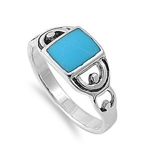 925 Sterling Silver Art Noveau Rectangular Simulated Turquoise Stone Ring 9MM Size (Sterling Silver Rectangular Turquoise Ring)