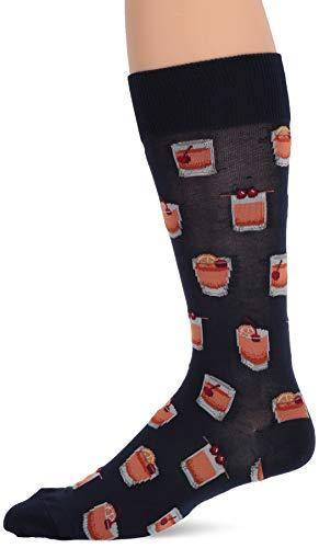 Hot Sox Men's Food and Booze Novelty Casual Crew Socks, Old Fashioned (Navy), Shoe Size: 6-12 Size: 10-13