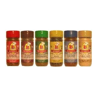 Bensons 6-Pack Salt-Free Seasoning Set - 5 Seasonings + 1 Salt Substitute + Salt Free Cookbook, Salt-Free, Sugar-Free, Gluten-Free, No Potassium Chloride, No MSG, No Preservatives - Cook With Flavor