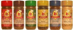 Bensons 6-Pack Salt-Free Seasoning Set - 5 Seasonings + 1 Salt Substitute + Salt Free Cookbook, Salt-Free, Sugar-Free, Gluten-Free, No Potassium Chloride, No MSG, No Preservatives - Cook With Flavor