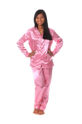 Soft Dreams Womens Brushed Back Satin Pajamas - Import It All 1e34d548b