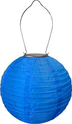 Allsop Home and Garden 29614 Soji Original 10 Round LED Outdoor Solar Lantern, Handmade with Weather-Resistant UV Rated Nylon, Stainless Steel Hardware, Auto sensor on/off, Chinese Style Globe Light,