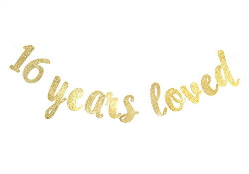 (16 Years Loved Gold Glitter Banner for Happy 16th Birthday/Wedding Anniversary Party Decor Gold)