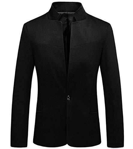- BU2H Men Autumn Mandarin Collar Solid One Button Thin Slim Fit Blazer Coat Black US M