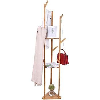 Amazon.com: UNHO - Perchero de bambú para árbol de entrada ...