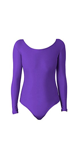 WOLF UNITARD Long Sleeve Leotard for Adult and Child Large Purple]()