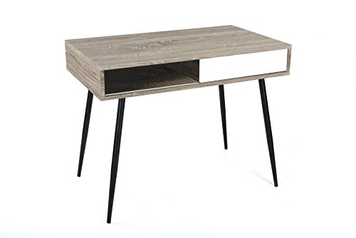 Weathered Grey Oak / White Finish Mid-Century Style Computer Home Office Writing Desk, 40' Wide