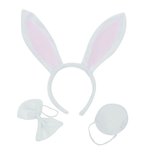 [3PCS Child Adult Rabbit Ears Headband Tail Set Birthday Party Halloween Costume] (One Night Stand Costume For Girls)