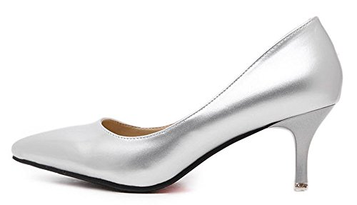 Easemax Womens Classic Stiletto D-orsay Pointed Toe Slip On Low Top Kitten Heel Pumps Shoes Silver QD9Bu