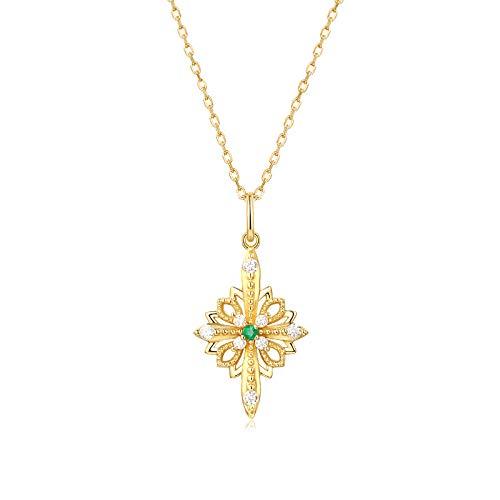 GYXYZB Light Luxury Natural Emerald White Zircon Cross Petals 925 Silver Pendant Necklace Accessories