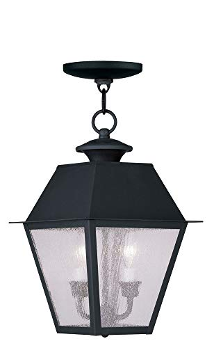 Livex Lighting 2167-04 Mansfield - Two Light Outdoor Hanging Lantern, Black Finish with Seeded Glass