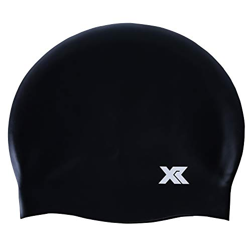 XR Swim Caps Silicone Raw Material Comfortable Durable Water Resistant Universal Sized Swimming Cap for Men Women (Black, 1-Pack)