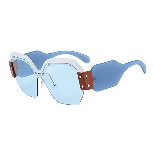 ROYAL GIRL Semi Rimless Sunglasses For Women Trendy Candy Color Designer Glasses (light-blue, - Designer Style Sunglasses