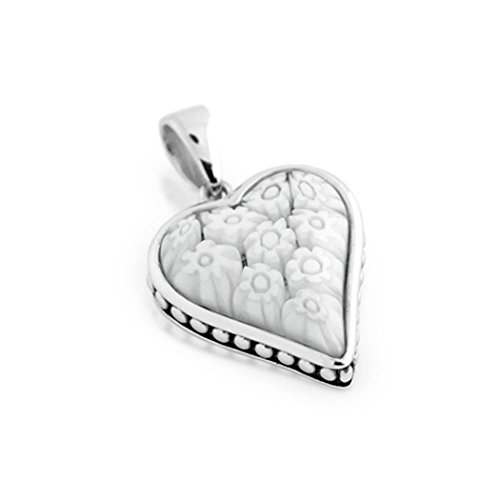 Sterling Silver Made in Italy Murano Millefiori Glass Heart Pendant (Color Options) (Heart Cut Murano Glass)