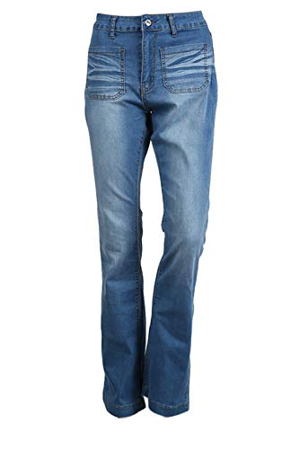 Fond Jeans Bleu Denim Fit Slim Bootcut pour Haute Femmes Taille Pantalon 66CnwfEqax
