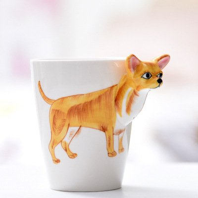 HJJH Tasse En Céramique 3D Pur Peint À La Main Tasse D'animaux Tasse De Dessin Animé Peint Tasse De Café Adapté Pour Le Bureau, La Famille Et La Fête,Chihuahua