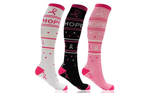 Knee High Compression Socks Women Pink - Pro Support Stockings Hose Made for Pregnancy Foot Aches Running Nurses Travel - Support Your Cause -