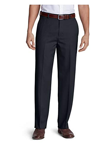 Eddie Bauer Men's Relaxed Fit Flat-Front Wool Gabardine Trousers, Navy Regular 3