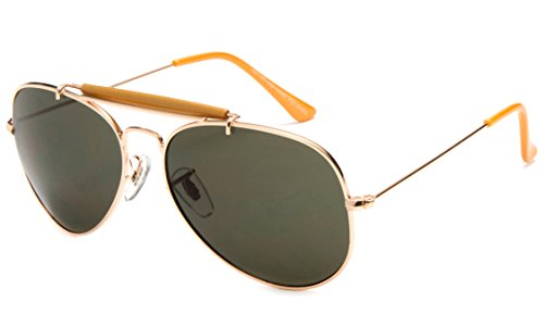 Newbee Fashion - Classic Premium Aviator Sunglasses with Brow Bar ()
