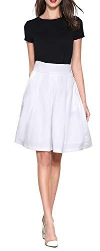 Twill Pleated Skirt - Womens Twill Corduroy-Like Aline Midi Skirt, Knee Length High Waist Pleated for Women White Elastic Waist Midi Skirt with Pockets Ivory XS