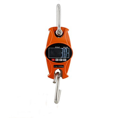 Rural365 Digital Hanging Scale 660 lb Hook Mini Crane Scale in Orange - for Lamb, Calf, Fishing, Hunting Weight