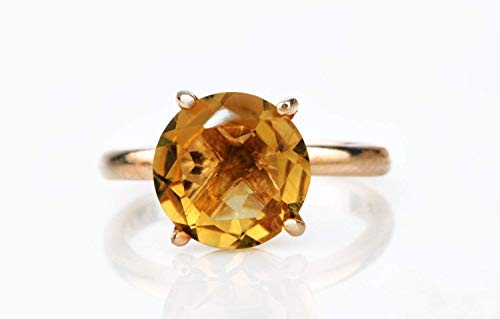 Anemone Unique 14K Rose Gold Citrine Ring - Elegant & Beautiful Round Rose Gold Ring For Women - With Engraving & Fancy Ring Gift Box [Handmade]