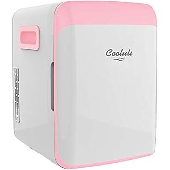 Cooluli Classic Pink 10 Liter Compact Portable Cooler Warmer Mini Fridge for Bedroom, Office, Dorm, Car - Great for Skincare & Cosmetics (110-240V/12V)