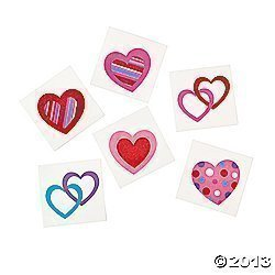 72 Colorful FUN HEART Temporary TATTOOS/VALENTINE#039S DAY PARTY FAVORS/6 DOZEN/TEACHER#039S Prizes Original Version