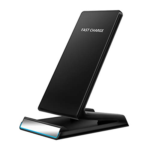 Qi Wireless Charger 10W Fast Wireless Charger Charging Stand for Galaxy S9 S9 Plus Note 8 S8 S8 Plus S7 S7 Edge Note 5 S6 Edge,5W Standard Charge for iPhone X/8/8 Plus (No AC Adapter)
