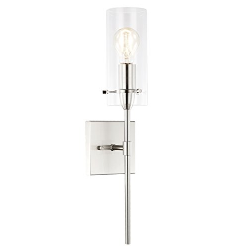 (Light Society Montreal Cylindrical Wall Sconce, Satin Nickel with Clear Glass Shade, Contemporary Minimalist Modern Lighting Fixture (LS-W238-SN-CL))