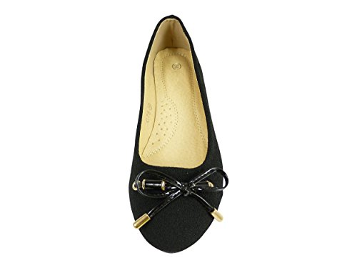 Ballerinas shoes women's Fabric and Canvas Knot Varnish Black 513zl